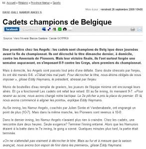 Les Cadets Champions de Belgique de Baseball en 2008