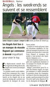 L'Avenir 16/5/2013