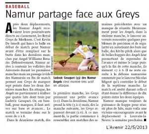 L'Avenir 22/5/2013