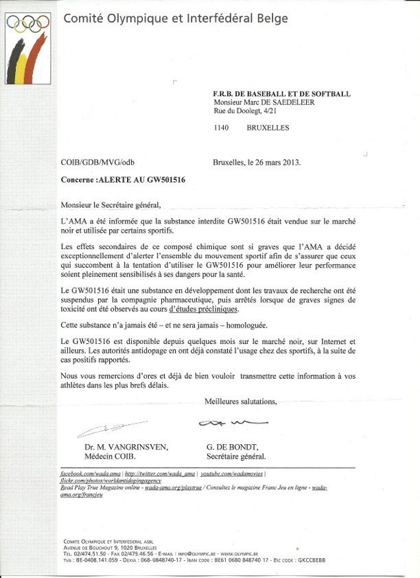 COIB -Alerte au GW501516